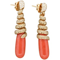 Diamond Coral Twist Gold Drop Earrings