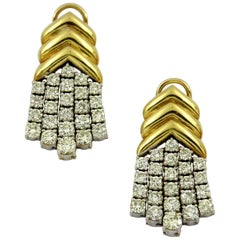 Geometric Gold Diamond Hanging Earrings