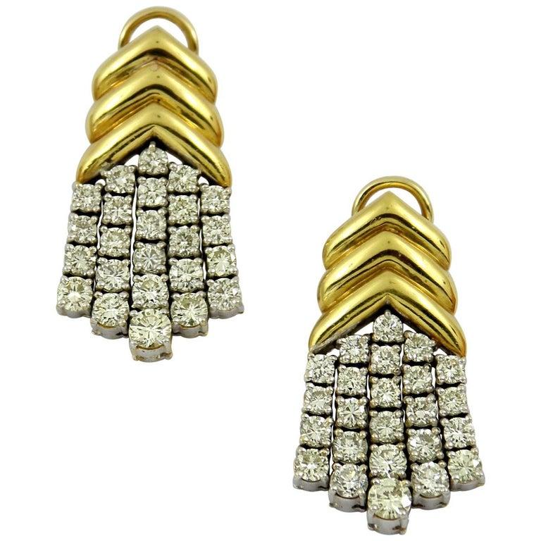 Geometric Gold Diamond Hanging Earrings For Sale