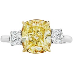 Scarselli GIA 3.04 carat Yellow Cushion Diamond Ring in Platinum