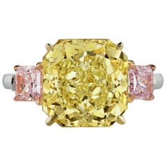 Scarselli GIA 6.96 Yellow Radiant and Pink Cushion Diamond Ring in Platinum