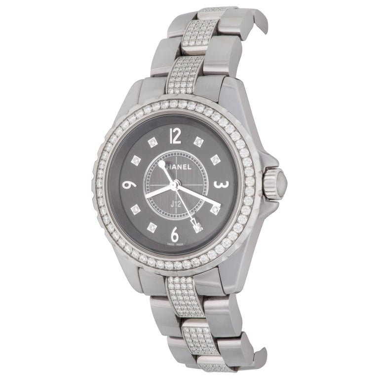 Chanel Chromatic Titanium Ceramic J12 Midsize Quartz Wristwatch Ref H3106