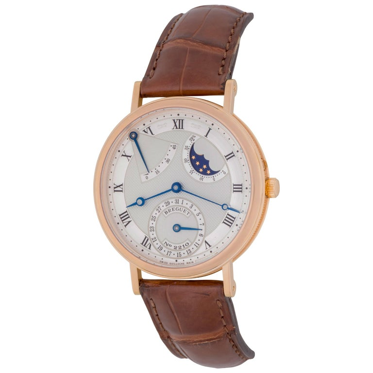 Breguet Rose Gold Classique Moon Phase Power Reserve Automatic Wristwatch