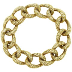 Diamond 18 Karat Yellow Gold Link Bracelet