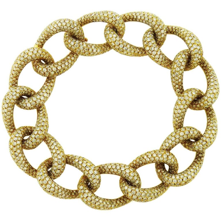 Diamond 18 Karat Yellow Gold Link Bracelet