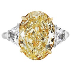Scarselli GIA 7.02 carat Yellow Oval Diamond Engagement Ring in Platinum