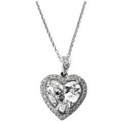 GIA Certified 2.49 Carat Heart Shape Diamond Pave Halo Pendant Necklace