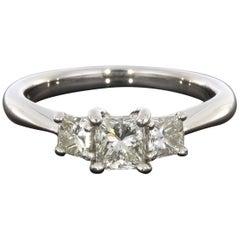 Platinum .75CTW Princess Diamond 3 Stone Engagement Ring
