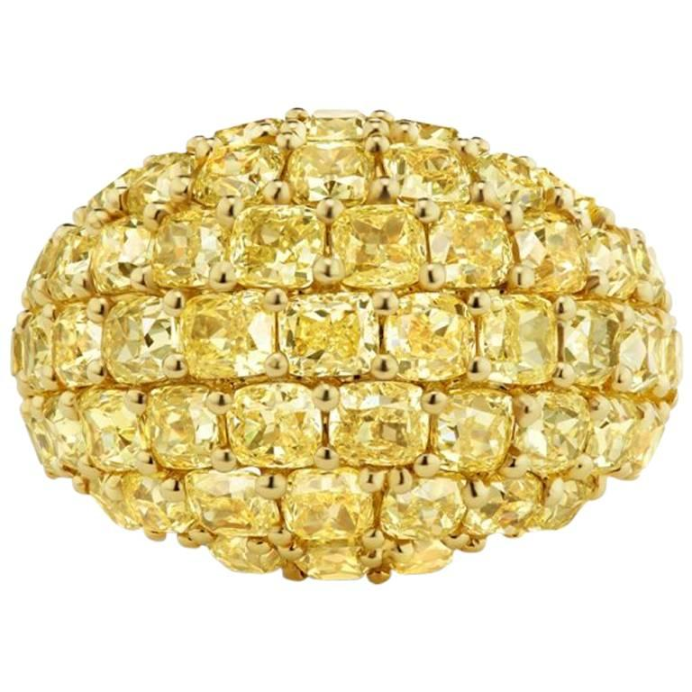 Scarselli 8.22 carat Fancy Yellow Cushion  Diamond Dome Ring in 18 karat Gold