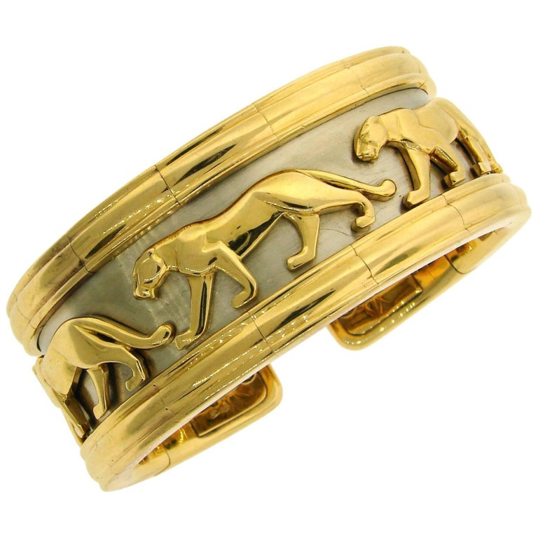 Cartier Yellow and White Gold Panthere Cuff Bangle Bracelet