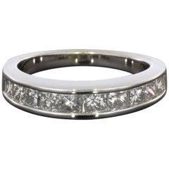 .90CTW Princess Diamond Channel Set 14K White Gold Wedding Band Ring