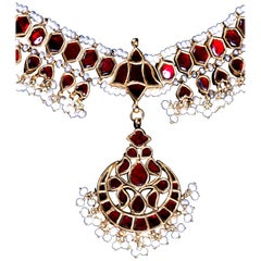 Gold Princess Necklace with Rubies in One Side and Diamonds on the Back