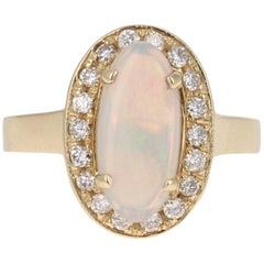 1.49 Carat Opal Diamond Yellow Gold Ring