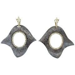 Green Amethyst Hammered Silver Gold Drop Earrings