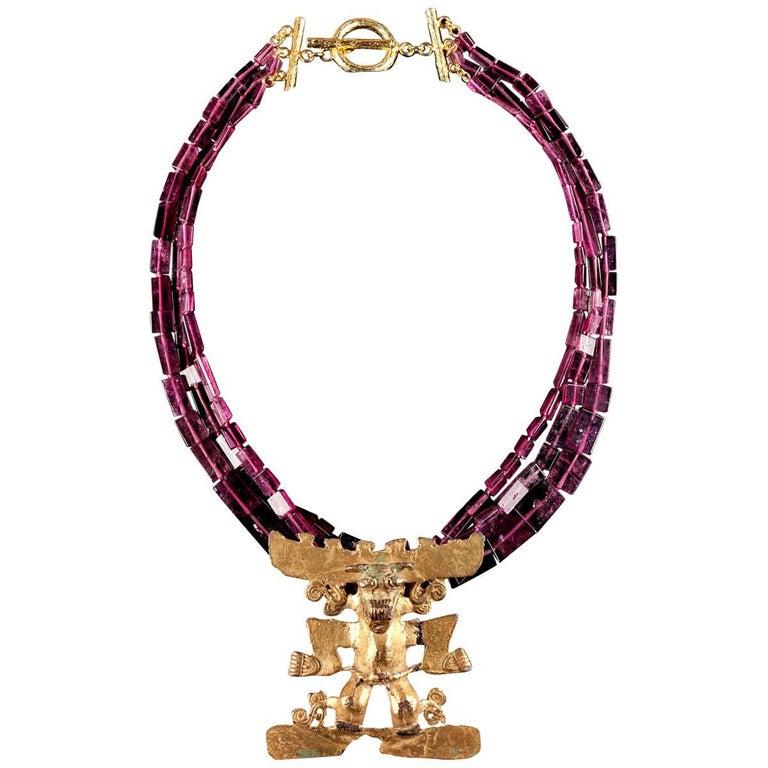 "Dark Pink Tourmaline Necklace with Tumbaga ""Rey de MarCo"" Pendant"