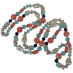 Amazonite Turquoise Lapis Lazuli Pearl Sterling Silver Long Necklace