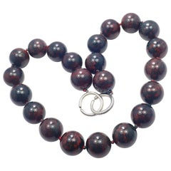 Tiffany & Co Paloma Picasso Sterling Silver Bloodstone Large Bead Necklace