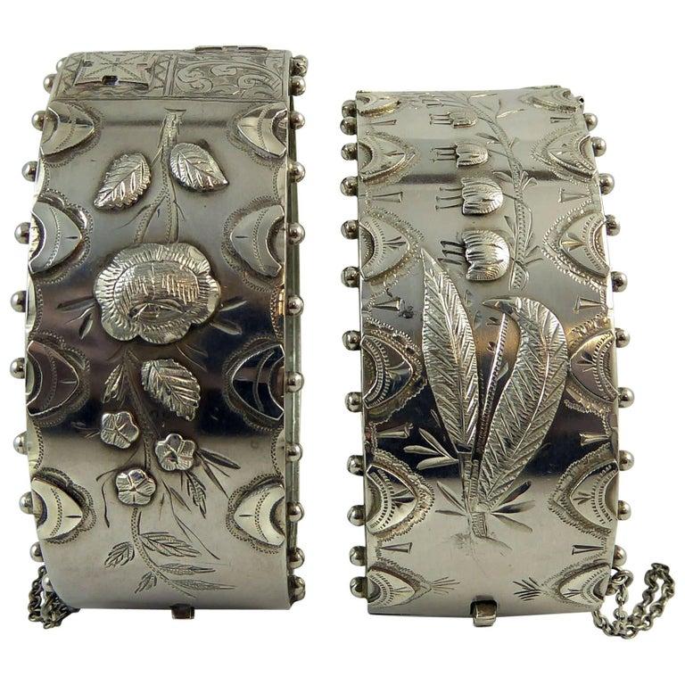 Victorian Silver Bangles, Boxed Pair, Hallmarked Birmingham, 1885