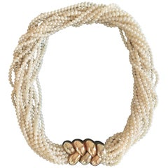 Poiray Multi Strand Akoya Pearl Necklace Gold Clasp