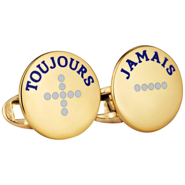 'I Love You More Today' Gold Cufflinks For Sale