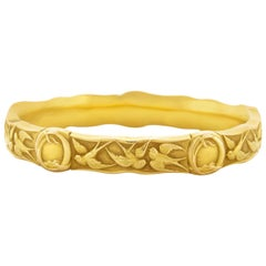 Riker Brothers Gold Art Nouveau Bangle