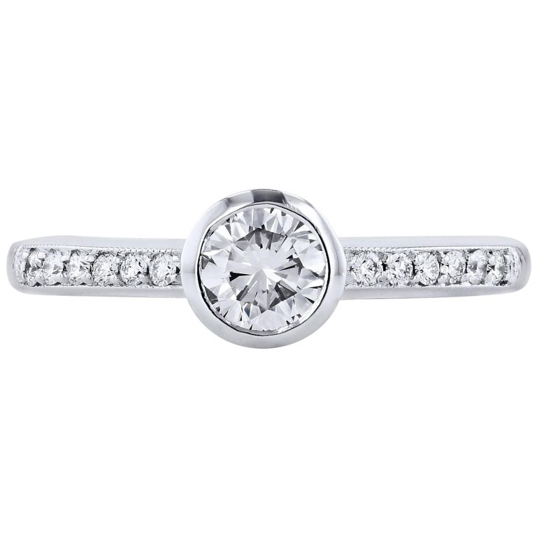 H & H 0.47 Carat Bezel Set Diamond Engagement Ring