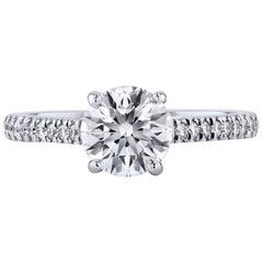 H & H 1.29 Carat Prong-Set Diamond Engagement Ring