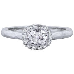 0.76 Carat Old Mine Cushion Cut Diamond Platinum Engagement Ring Size 6.5