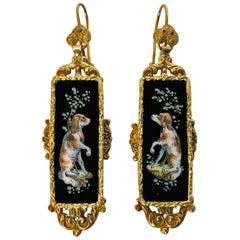 Antique Victorian   Spaniel Enamel Gold Earrings