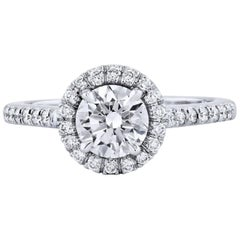 GIA Certified Handmade 1.00 Carat Round Diamond Halo Engagement Ring