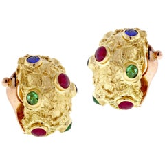 Van Cleef & Arpels Textured Gem Set Gold Hoop Earrings