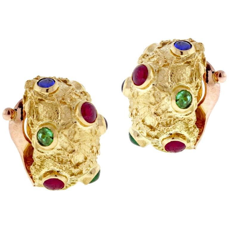 Van Cleef & Arpels Textured Gem Set Gold Hoop Earrings