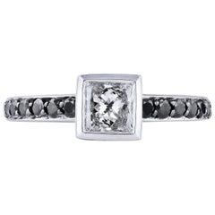 H & H 0.58 Carat Princess Cut Diamond with Black Diamond Pave Engagement Ring