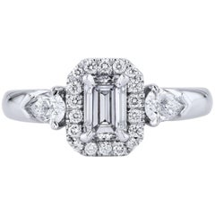 H & H 0.62 Carat Emerald Cut Diamond Engagement Ring