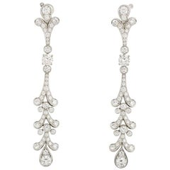 Cartier Diamond Tulipe Chandelier Earrings GIA Certified