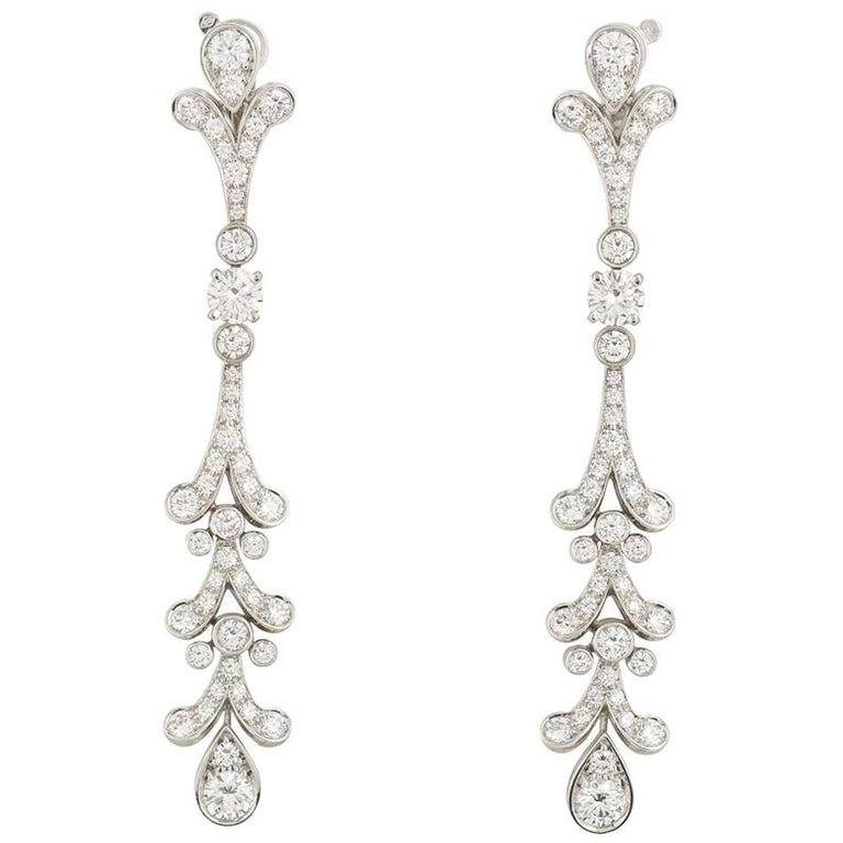 a40f128eac707 Cartier Diamond Tulipe Chandelier Earrings GIA Certified For Sale at ...