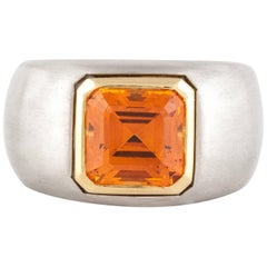 Platinum Mandarin Garnet Ring