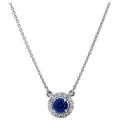 H & H 0.45 Carat Royal Blue Sapphire Pendant Necklace