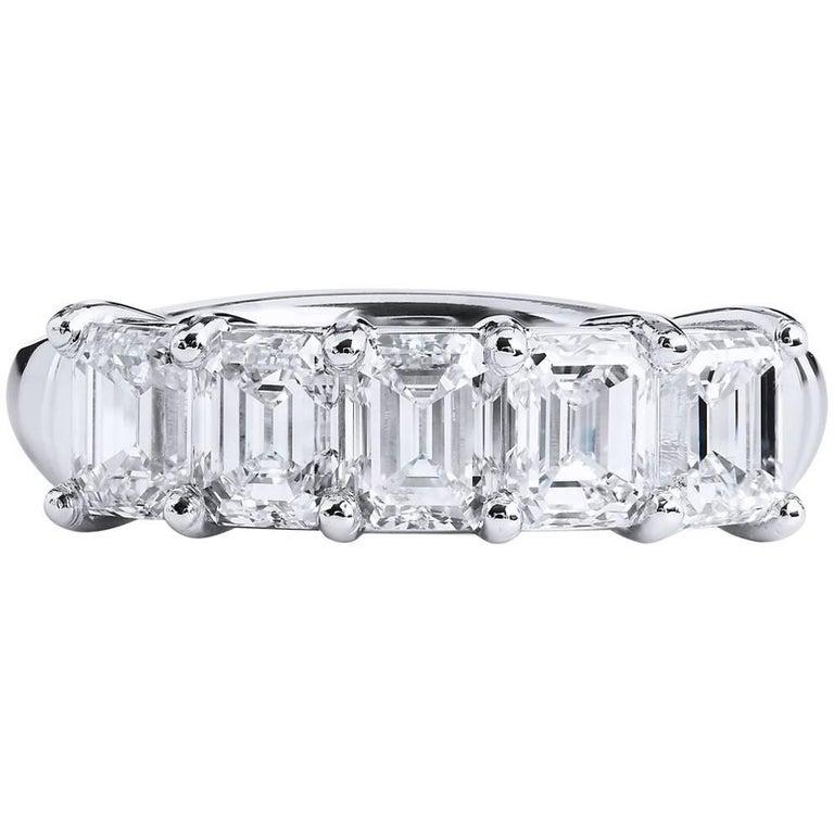 H & H 2.25 Carat Emerald Cut Diamond Band Ring