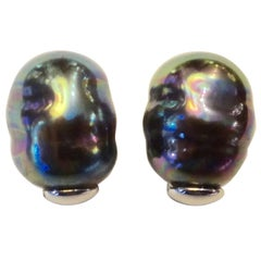 Michael Kneebone Baroque Tahitian Pearl Stud Earrings