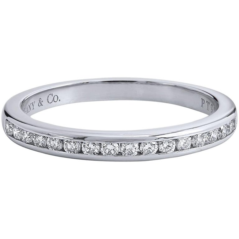 Estate Tiffany & Co. 0.17 Carat Diamond and Platinum Eternity Band Ring Size 5.5 For Sale