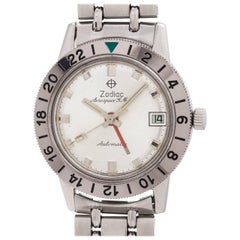 Zodiac Stainless Steel Aerospace GMT Bracelet self winding wristwatch, c1960s