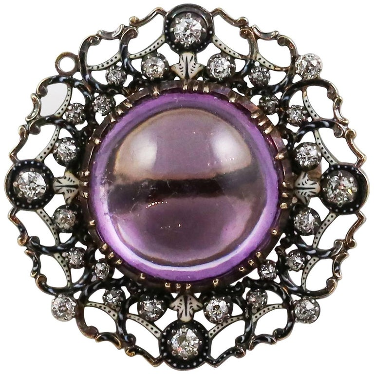 Georgian 18k Gold and Silver Amethyst and Diamond Brooch