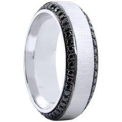 Men's 1.13 Carat Black Diamond & 18 karat Palladium Eternity Band Ring Size 10.5