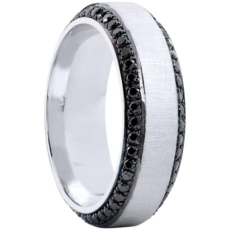 H & H 1.13 Carat Black Diamond Band Ring