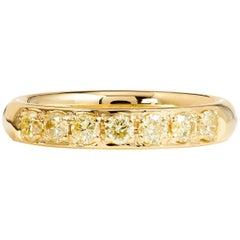 H & H 0.56 Carat Fancy Intense Yellow Diamond Band Ring