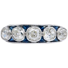 2.15 Carat Old Mine Cut Diamond Platinum Band Ring