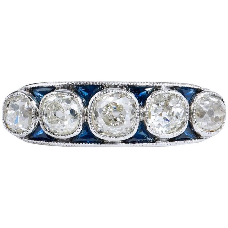 2.15 Carat Old Mine Cut Diamond Platinum Band Ring For Sale