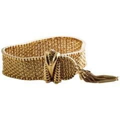 1950s Retro 18K Yellow Gold 22mm Tassel Bracelet