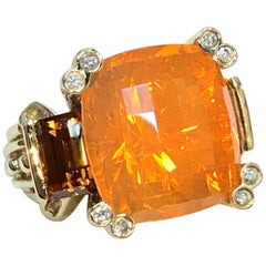8 Carat Orange Mexican Fire Opal with Cognac Natural Zircon Byzantine Style Ring